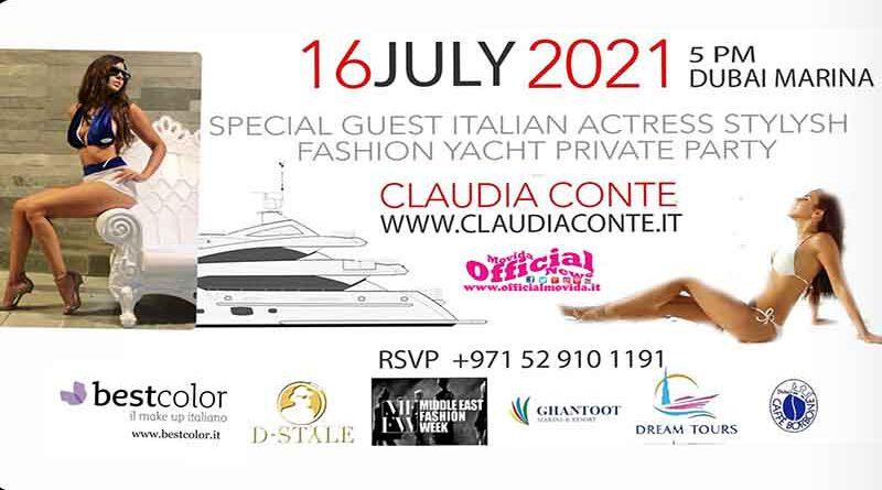 Debutto nella moda perClaudia Conte, attrice, scrittrice, ideatrice di Women in Cinama Award alla Mostra del Cinema di Venezia e alla Festa del cinema di Roma